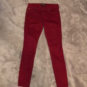 Express wine red skinny jeans